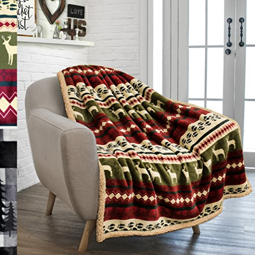 PAVILIA Premium Plush Sherpa Throw Christmas Blanket | Soft, Warm, Cozy, Reversible Microfiber Fleece Winter Cabin Throw | Holiday Theme Blanket 50 x 60 (Red)