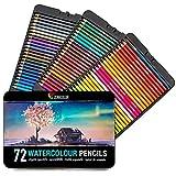 Zenacolor 72 Crayons aquarellables avec Pinceau et Malette Dessin Métal Boite...