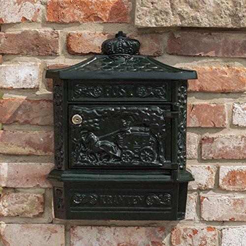 Antikas - Briefkasten Postillon Wandbriefkasten, grün rostfrei Alu, mit Zeitungsfach