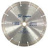 Kingthai 7 Inch Wet Dry Segmented Cutting Concrete Diamond Saw Blade for Masonry with 7/8-5/8 Inch Arbor