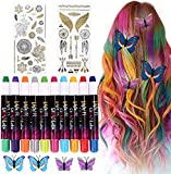 Teinture pour les cheveux Craie pour Cheveux, Buluri 10 Couleurs Craie pour Les Cheveux Craie Colorant Naturels Craie Stylos Couleur De Cheveux Temporaire Pour Filles, Garçons Filles, Cadeaux Parfaits