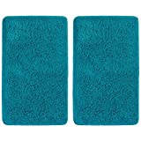 mDesign Soft Microfiber Polyester Non-Slip Rectangular Spa Mat, Plush Water Absorbent Accent Rug for Bathroom Vanity, Bathtub/Shower, Machine Washable - 34' x 21' - 2 Pack - Heathered Deep Teal