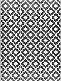 BalajeesUSA Outdoor Patio Rugs Clearance 9'x12' (274 cm x 365 cm) Black n White 4514