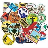YUHANG Mapa de Viaje país Famoso Logo PVC Pegatinas Impermeables Juguetes para niños decoración Maleta Bicicleta Coche Guitarra monopatín 100 unids/Set