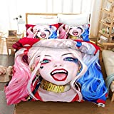 Harley Quinn, Clown Girl, Beautiful 3D Bed with 3D Patterns (Includes: 1 Bedspread 2 Pillowcase 6 Patterns to Choose from), Best Gift for Fan (Color : A, Size : US King)