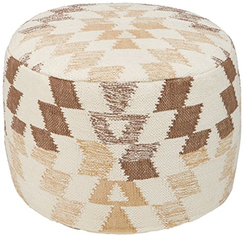 Signature Design by Ashley Abraham Geometric Cotton Pouf, 14 x 14 Inches, White & Brown