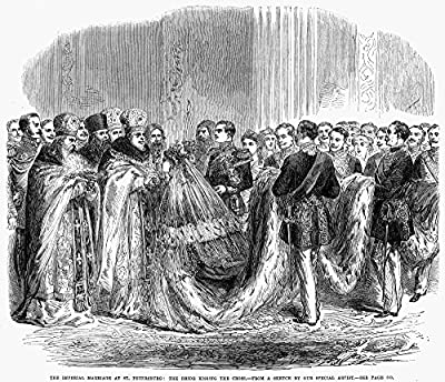 Wall Decor Prints: Russia Royal Wedding 1866 Nthe Weddding In St Petersburg Russia 1866 Of The Czarevitch Alexander (Later Czar Alexander Iii) And Princess Dagmar Of Denmark Wood Engraving From A Contemporary English Newspaper Country Of Origin: Unit...