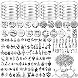 Flasoo 376Pcs Bangles Bracelet Making Kit Include 30Pcs Expandable Bangle Adjustable Wire Bracelets 146Pcs Assorted Tibetan Silver Charm Pendants and 200Pcs Jump Rings for DIY Craft Jewelry Making