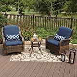 3 Piece Patio Furniture Set Outdoor Rattan Rocker Conversation Set with 1 Table and 2 Rocking & Swivel Chairs Support 350lbs