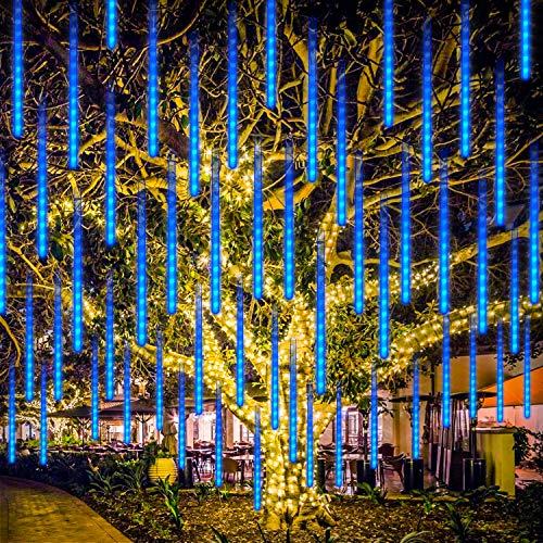 Luci a Stringa LED, Rilitor Luci Della Pioggia di Meteore impermeabili 192 LED 8 tubi 11,8 pollici USB Drop Icicle Fairy String Lights per Natale Halloween Holiday Party Patio Outdoor (Blu)