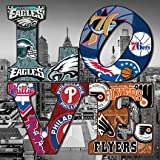 PHILADELPHIA City collage on LOVE on CANVAS stretched on wood Wall art Decor Made in US (12X12, city background)