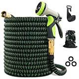VIENECI 100ft Garden Hose Expandable Hose, Durable Flexible Water Hose, 9 Function Spray Hose Nozzle, 3/4' Solid Brass Connectors, Extra Strength Fabric, Lightweight Expanding Hose