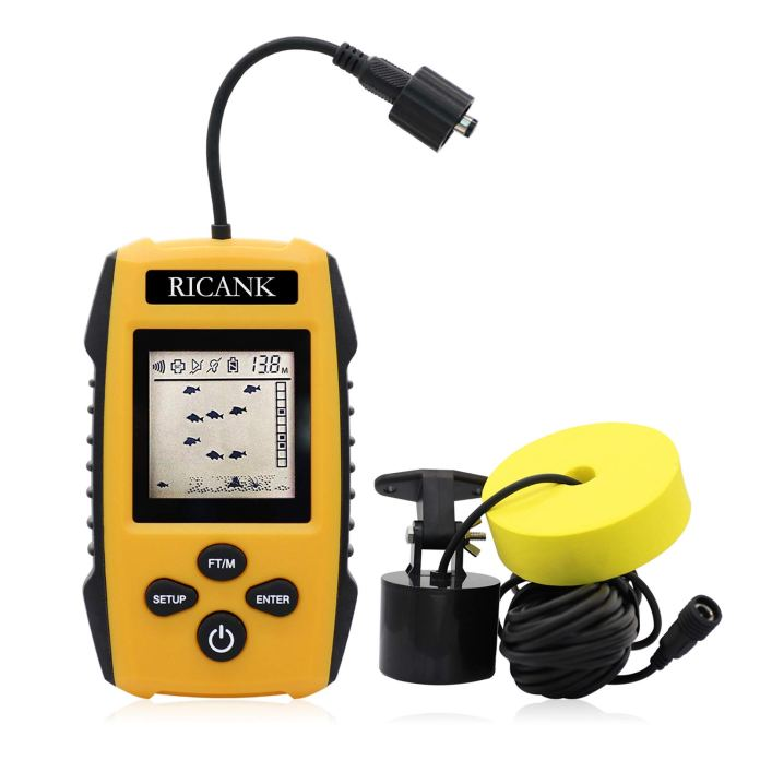 Amazon Com Ricank Portable Fish Finder Handheld Wired Fish Depth Finder Ice Kayak Fishfinder Shore Boat Fishing Fish Detector Device With Sonar Sensor Transducer And Lcd Display Gear Fish Depth Finder Yellow Sports
