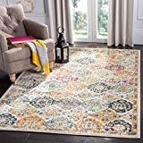 Safavieh Madison Collection MAD611B Bohemian Chic Vintage Distressed Area Rug, 4' Square, Cream/Multi