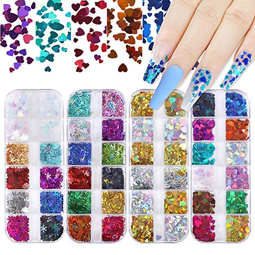 Nail Art Nail Glitter Sequins, 48 Color Holographic Glitter Nail Foil Set 3D Laser Nail Decals Heart Letter Snowflake Glitter for Nails Face Body Glitter Nail Decorations & DIY Craft (4 Boxes)