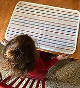 Kinderteppich Montessori-Matte, Kinderspielmatte für Kinderzimmer, Baumwolle, Montessori-Arbeitsteppich, geeignet für Großbuchstaben, 60 x 80 cm, Streifen