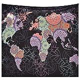Tapisserie murale Mandala Yartmon - Motif carte du monde - Boho psychédélique - Tapisserie Aesthétique pour chambre à coucher, salon, dortoir (130 x 150 cm)