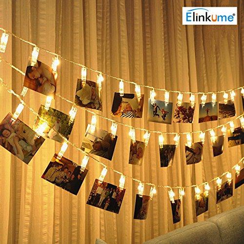 ELINKUME LED Photo Clip catena leggera, 20 clip foto, 2.2 metri/7, 21 piedi, bianco caldo, a pile,...