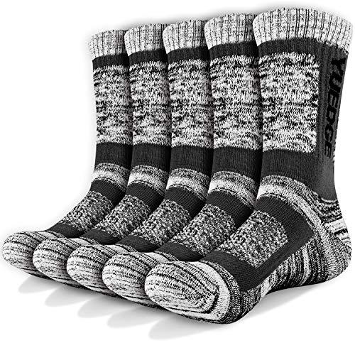 YUEDGE 5 paia di calzini sportivi da uomo Calze da equipaggio con cuscino performance, completo per...