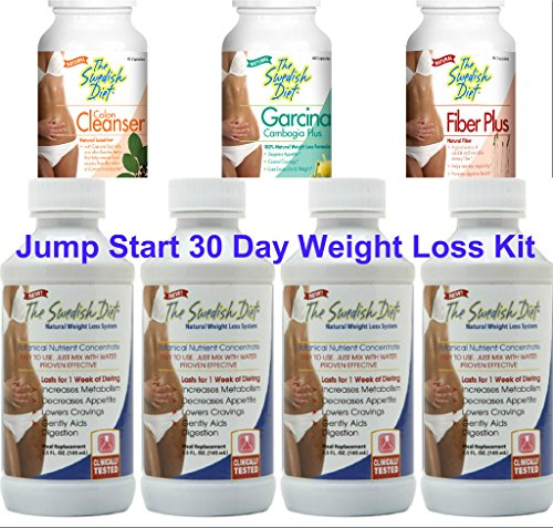 Jump Start Weight Loss 30 Day Kit | 4 bottles of The Swedish Diet Liquid Meal Replacement and 1 each of the Colon Cleanser, Fiber Plus and Garcinia Cambogia for Quick and Effective Results 1 - My Weight Loss Today