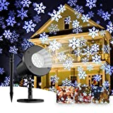 Christmas Upgraded Snowflake Projector Lights Outdoor Indoor,Rotating LED Snowfall Projection Lamp,IP65 Waterproof Clearer LED Snow Falling Projector Landscape Spotlights for Holiday Christmas Decora