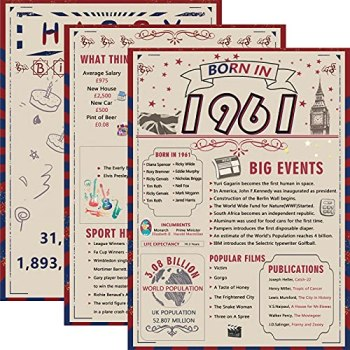 3PCS Back in 1961 Birthday Poster A4 Size Unframed - 60th Birthday Gifts for 60 Years Old Women or Men, Vintage Party Decor Table Decoration or Couple Celebrating Their 60th Wedding Anniversary