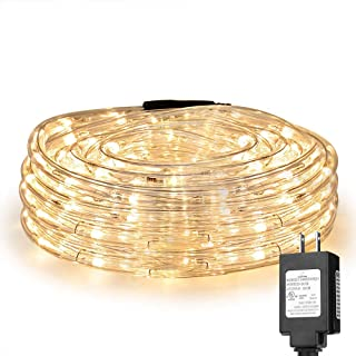 LE 33ft 240 LED Rope Light, Waterproof, Connectable, Low Voltage, Warm White, Indoor..