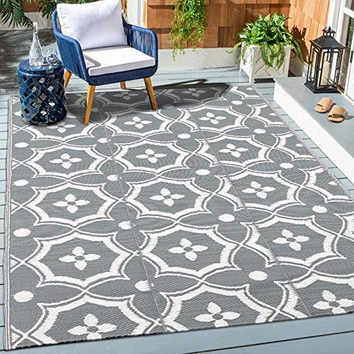 HEBE Large Outdoor Rug 6'x9' Plastic Straw Rug Reversible RV...