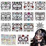 14 Hojas Halloween Tatuaje Temporal de la Cara Kit,12 Halloween Prueba de Agua...