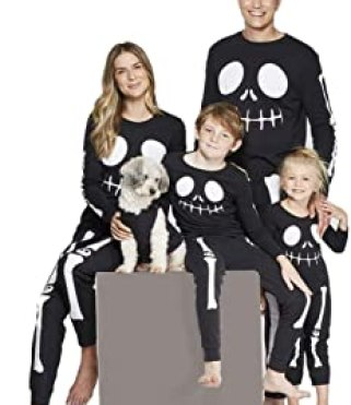 Matching Family Pajamas Sets Holiday Halloween Hoodie One-Piece PJS Family Jammies Cotton Skeleton Jumpsuit
