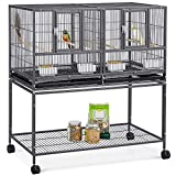Yaheetech 41.5' Stackable Divided Breeder Breeding Parakeet Bird Cage for Canaries Cockatiels Lovebirds Finches Budgies Small Parrots with Rolling Stand, Black