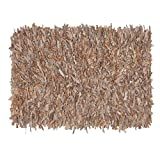 HF by LT Handwoven Leather Shag Rug, 24 x 36 inches, Buff
