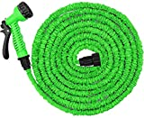 Junredy 75ft Water Hose, Expandable Garden Hose, Flexible Expanding Pressure Water Hose, 3-Layers Latex Core, Extra Strength Fabric,for Watering Needs (Green)