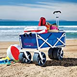 Folding Beach Wagon All Terrain Blue Collapsible Kart Foldable Sports Dolly Gear Storage Mac Cart with Cooling Towel