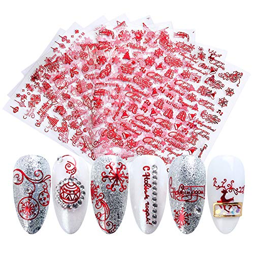 Christmas 3D Nail Art Stickers Xmas Design Nail Decals Red Nail Supplies Christmas Winter Snowflake Letter Elk Santa Tree Snowman Bells Self Adhesive Decals Slider Foils Manicure Decoration 9 Sheets