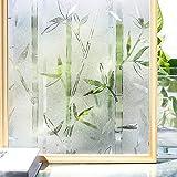 LMKJ Película de Ventana de privacidad 3D de Color de bambú Chino sin Pegamento decoración privacidad autoadhesiva Control de Calor película de decoración de Vidrio de Vinilo A96 45x200cm