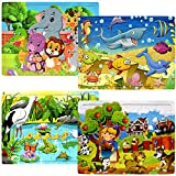 Wooden Jigsaw Puzzles for Toddlers Kids Ages 2 3 4 5 Years Old - 24 Large Pieces Preschool Puzzles - Set of 4 Vibrant Theme Brain Development Learning Educational Puzzle Toys