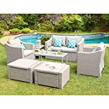COSIEST 7-Piece Outdoor Patio Furniture Conversation Set All-Weather Wicker Sectional Sofa w Thick Cushions, Coffee Table, Glass-Top Table, 2 Ottomans, 4 Teal Pattern Pillows for Pool, Lawn, Backyard