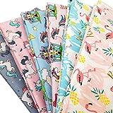 Zaione, 6 pezzi 50 cm x 50 cm, scampoli di tessuto stampato con unicorni, cavallo arcobaleno, fenicotteri, 100% cotone, per patchwork, cuscini, cucito Serie cartoni animati.