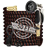 WGCC Expandable Garden Hose, 50Ft [Extra-Thick 4 Layers Latex Core] 5-in-1 Water Garden Hose with Heavy Duty 9 Function Sprayer Nozzle- Water Hose with 3/4' Solid Brass Fittings