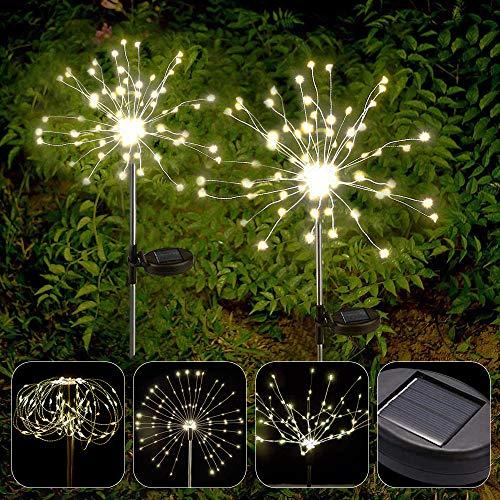 APERIL Luci Solari Esterno Giardino Fuochi d'Artificio Lampada 2 pack Bianco Caldo con Scintillio e Steady-on 2 Modalit 150 LEDs Luce Decorative Illuminazione per Giardino, Aiuola, Feste, Natalizie