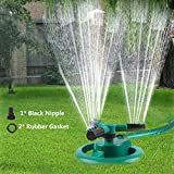 Durable Lawn Sprinkler, Water Sprinklers for Garden, Lawn, Yard, Flower Grass Plant Park, Automatic 360 Degree Rotating Sprinkler Irrigation System, Adjustable Spray Angle and Distance (Round 1)