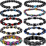 10 Pieces Magnetic Therapy Bracelet Energy Healing Bracelet Relief Hematite Bracelet Set for Men Women Sports Related Therapy, 10 Styles