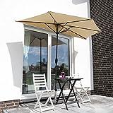 Sekey 2.7m halbrundschirm Marktschirm, Sonnenschirm mit Kurbel und Klettbandverschluss für Garten, mit 5 Stahlverstrebungen, 100% Polyester (Taupe), UV 50+