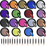 Duufin 18 Jars Nail Powders Metallic Chrome Nail Powder Mirror Effect Manicure Pigment Nail Art Powders with 18 Pcs Eyeshadow Sticks, 1g/Jar