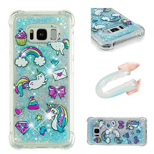 Funluna Funda Samsung Galaxy S8 Plus, Carcasa Glitter Líquido 3D Bling Silicona Flowing Brillar Sparkle Cristal Choque Absorción Cubierta para Samsung Galaxy S8 Plus - Unicornio Azul