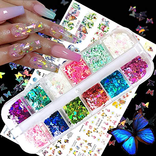 Nail Sequins Butterfly Glitter, 3D Nail Art Stickers Colorful Acrylic Laser Nail Glitter Flakes Holographic Nail Sparkle Tips DIY Decals for Nail Decorations Face Body Eye 12 Colors&12 Sheets