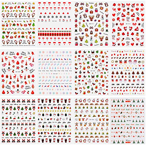 Bignc 1600+ Pcs Christmas Nail Art Stickers 3D Nail Self-adhesive Stickers Santa Claus Reindeer Xmas Tree for Women Girls and Xmas Party Favor Decoration(12 Sheets)