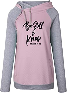 shifeier Faith Sweatshirt Plus Size for Women Casual Long Sleeve Printed Hoodie Shirt Pocket