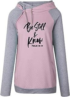 shifeier Faith Sweatshirt Plus Size for Women Casual Long Sleeve Printed Hoodie Shirt Pocket